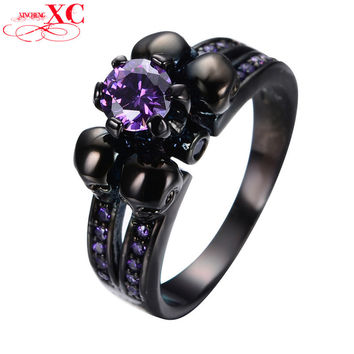 Purple Sapphire Black Skull Jewelry Women/Men Amethyst Ring Anel Aneis Black Gold Filled Zircon Rings for Halloween Party RB0331