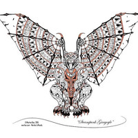Steampunk Gargoyle - Mechanical Gargoyle Art Print- Metallic Custom Print