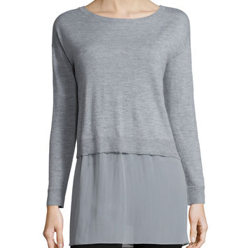 Featherweight Cashmere Box Top with Silk Block, Size:
