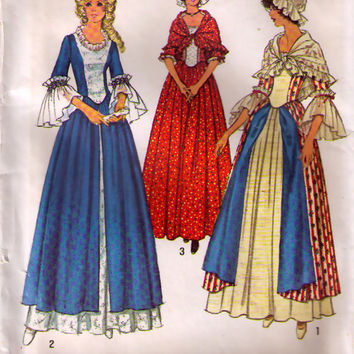 HISTORICAL COSTUME Pattern..Reenactment Costume...Vintage Sewing Pattern Simplicity 6787..Sz 12