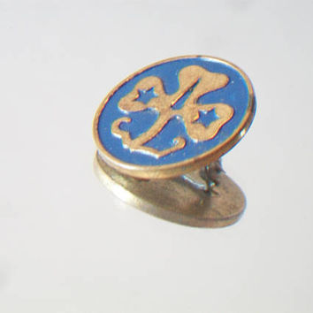 Blue Girl Scout Pin Badge Round Gold Tone Clover Scouting Troop Club Accessories For Her