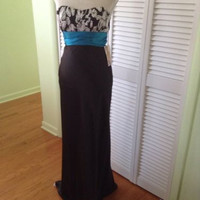NEW Zum Zum By Niki Livas Satin Strapless Gown Black/Turquoise (Size 5/6)