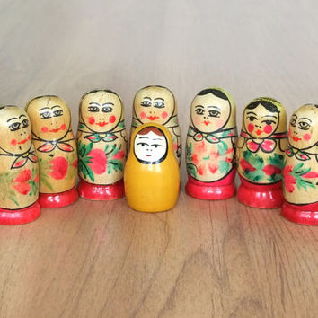 Vintage Wooden Dolls Matryoshka, Russian Nesting Doll, Collectibles Gift