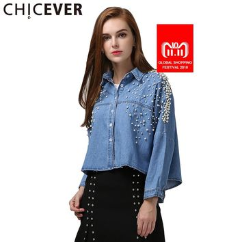 CHICEVER Denim Crop Top Female Pearl Batwing Long Sleeve Women's Shirt Jeans Short Tops Clothes Korean Big Sizes Autumn 2017 New