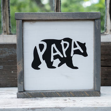 Papa Bear Silhouette Sign Rustic Country Kitchen decor farmhouse decor cottage decor kitchen sign barnwood bear cutout, baby bear sign