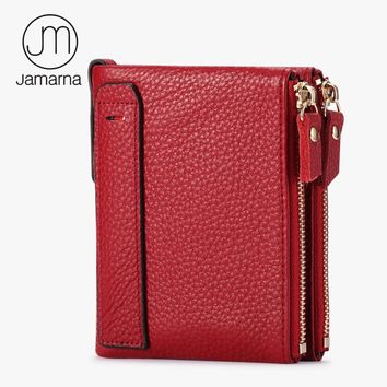 Jamarna Genuine Leather Women Wallets ID Card Holder Coin Purse With Double Zipper Small Women Purse Free Shipping Red