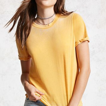 Rolled-Cuff Burnout Tee
