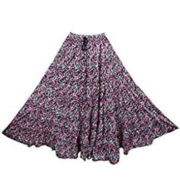Mogul Womens Long Skirts Pink Printed Tiered Flared Bohemian Sexy Maxi Skirts