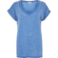 River Island Womens Blue burnout V neck t-shirt