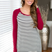 Scoop Neck Loose Stripe Shirt