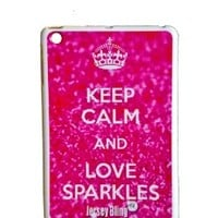 "ZEBRA Jersey Bling® Ipad Mini KEEP CALM AND SPARKLE, Glitter, or Pink, Silicone, TPU, Protector, Defender Back Cover, Case with 1 FREE 4"" Metallic Jersey Bling® Stylus Touch Pen (Keep Calm and Love Sparkles (Pink Glitter))"