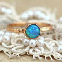 Blue Opal Ring, Blue opal Gold filled ring, dainty golf ring, Opal jewelry, Gold ring, Gift for woman, opal ring,