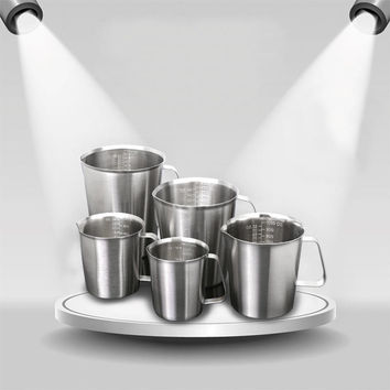 18/10 Stainless Steel Measuring Cup Frothing Pitcher with Marking For Milk Froth