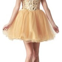 Faironly Crystals Mini Short Prom Homecoming Cocktail Dress (XXL, Gold)
