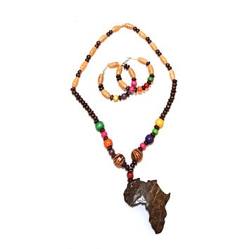 Safari Lionel Wooden and/or Beaded Africa Map Pendant Ethnic Tribal African Necklace and Earrings Set