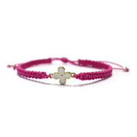 Pink cord bracelets with white flower pendant fashion accessory