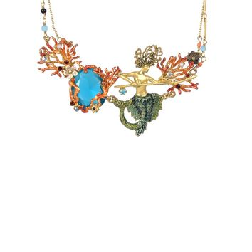 Les Néréides Sea Bottom Mermaid and Stone Necklace