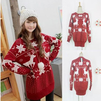 Red Christmas Reindeer Snowflake Lady Womens New Ugly Loose Knitted Sweater Jumpers Pullovers