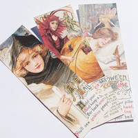 Edwardian Halloween - Halloween Bookmarks - Set Of 5 - Variety Images - Book Accessory - Holiday Bookmarks - Halloween Treats