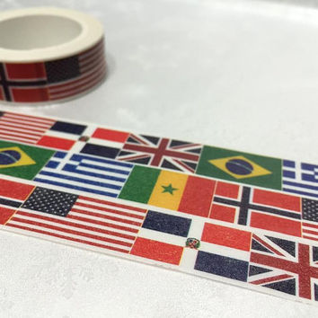 flag Washi Masking tape 10M United states flag United Kingdom flag Brazil Greece Norway flag sticker tape tape international flag banner