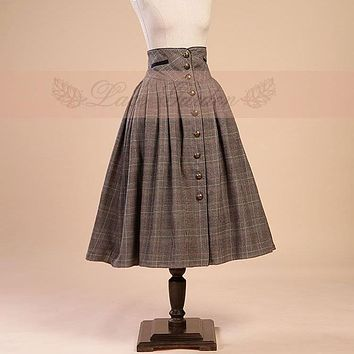 Vintage Victorian High Waist Mid-calf Skirt Retro Style Plaid Midi Skirt by Lace Garden