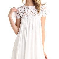 FLORAL CROCHET BABY DOLL DRESS - WHITE