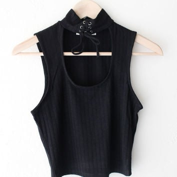 Knit Choker Crop Top