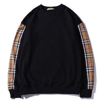 Burberry autumn and winter new plaid stitching round neck pullover sweater F-A-KSFZ Black