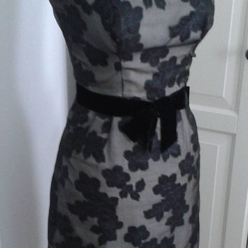 50s Wiggle Dress, Cocktail, Sheer Floral, Black Over Cream, Dress + Jacket, Bolero, Outfit, Size XS
