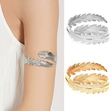 Goth Punk Women Leaf Swirl Upper Arm Cuff Armlet Armband Bangle Dancer Bracelet