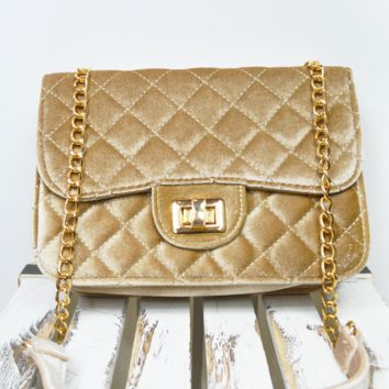coco velvet quilted purse - champagne