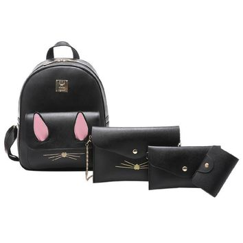 4Pcs/Set Small Women Backpacks mochila female School Bags For Teenage Girls Black PU Leather Women Backpack Shoulder Bag Purse