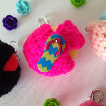 Neon Pink EOS Lip Balm Cozy/Holder with Flip-Flop Button Closure and Split Ring/Lobster Clasp for Clip-On