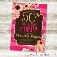 "30th Birthday Party Gold, Glittery and Glam Watercolor Flowers DIY Printable Invitation in Corals and Pinks, 5"" x 7"""