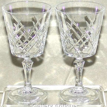 "Pair of Vintage retro Cristal D'Arques - Durand Saumur Pattern Crystal Cut 5 1/2"" tall Wine Glasses c.1970's (ref: 3176)"