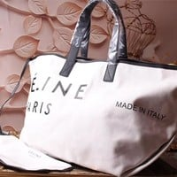 CELINE WOMEN'S CANVAS SHOPPING BAG TOTE BAG