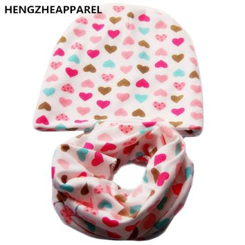 2017 new cotton star heart love ice cream print baby beanies +scarf sets boys girls caps & collars suits children kids hats