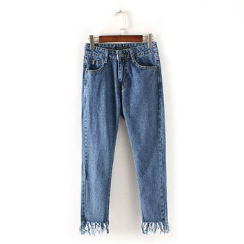 Summer High Rise Ladies Tassels Denim Pants [4920284484]