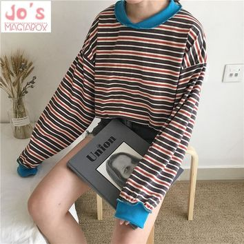 Chic Harajuku Style Stripe Long Sleeve Shirt Ulzzang Oversized Hoodie Loose Pullover Women Shirt 2018 New Style Casual Hoodies