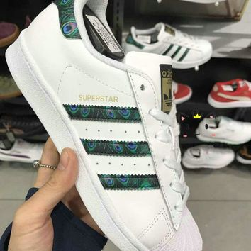 """""""Adidas"""" Superstar Shell toe White/Peacock Green Casual Sneakers"""