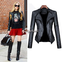 2015 Newest Spring Autumn Women Faux Soft Leather Jackets Black Pu Blazer Zippers Coat Motorcycle Outerwear 30