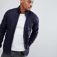 ASOS Harrington Jacket With Funnel Neck In Navy at asos.com