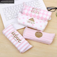 Canvas Pencil Case Pink Words Kawaii Pencilcase Stationery School Supplies Pencils School-supplies Pencil Cases Students Gift