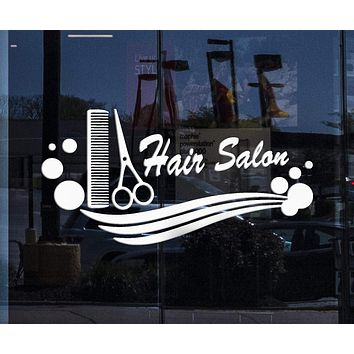 Window Decor and Wall Stickers Hair Salon Vinyl Decal Comb Scissors Hairdresser Haircut Unique Gift (ig633w)