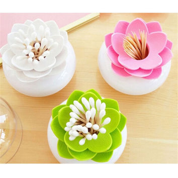 1pc/lot Fashion 4 Colors Lotus Home Decor Toothpick Cotton Swab Holder Storage Box Pick Toothpick case GI870661