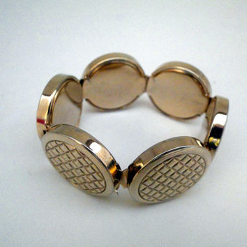 Quirky Vintage Bracelet Textured Circles - One of a kind