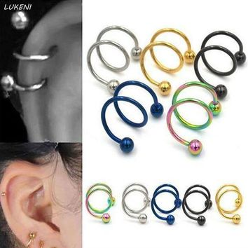 ac ICIKO2Q 6 Pcs/set Creative Gauge Ball Surgical Steel Double Spiral Twister Barbell Earring Ear Cartilage Piercing Body Jewelry