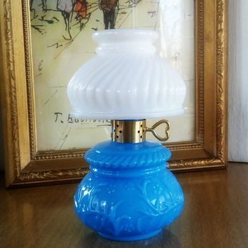 Avon Perfume Bottle Milk Glass, Vintage Avon Blue Glass Soap Bottle Lamp, Avon Lamp Bottle
