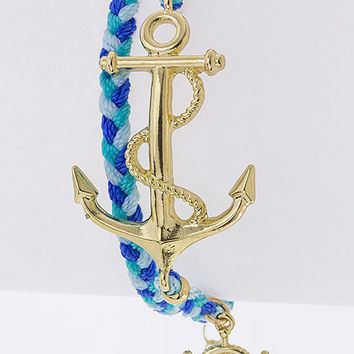 Anchor Braided Bracelet in Multiple Colors