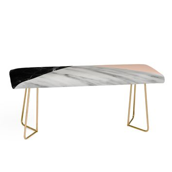 MARBLE COLLAGE WITH PINK Bench by Emanuela Carratoni